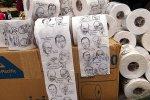 Туалетная бумага с портретами американских политиков и финансистов