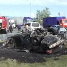 На МКАД в результате ДТП взорвался автомобиль BMW