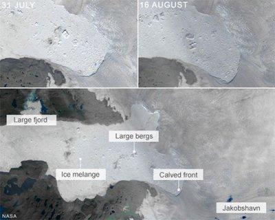 NASA: От Гренландии откололся огромный ледник