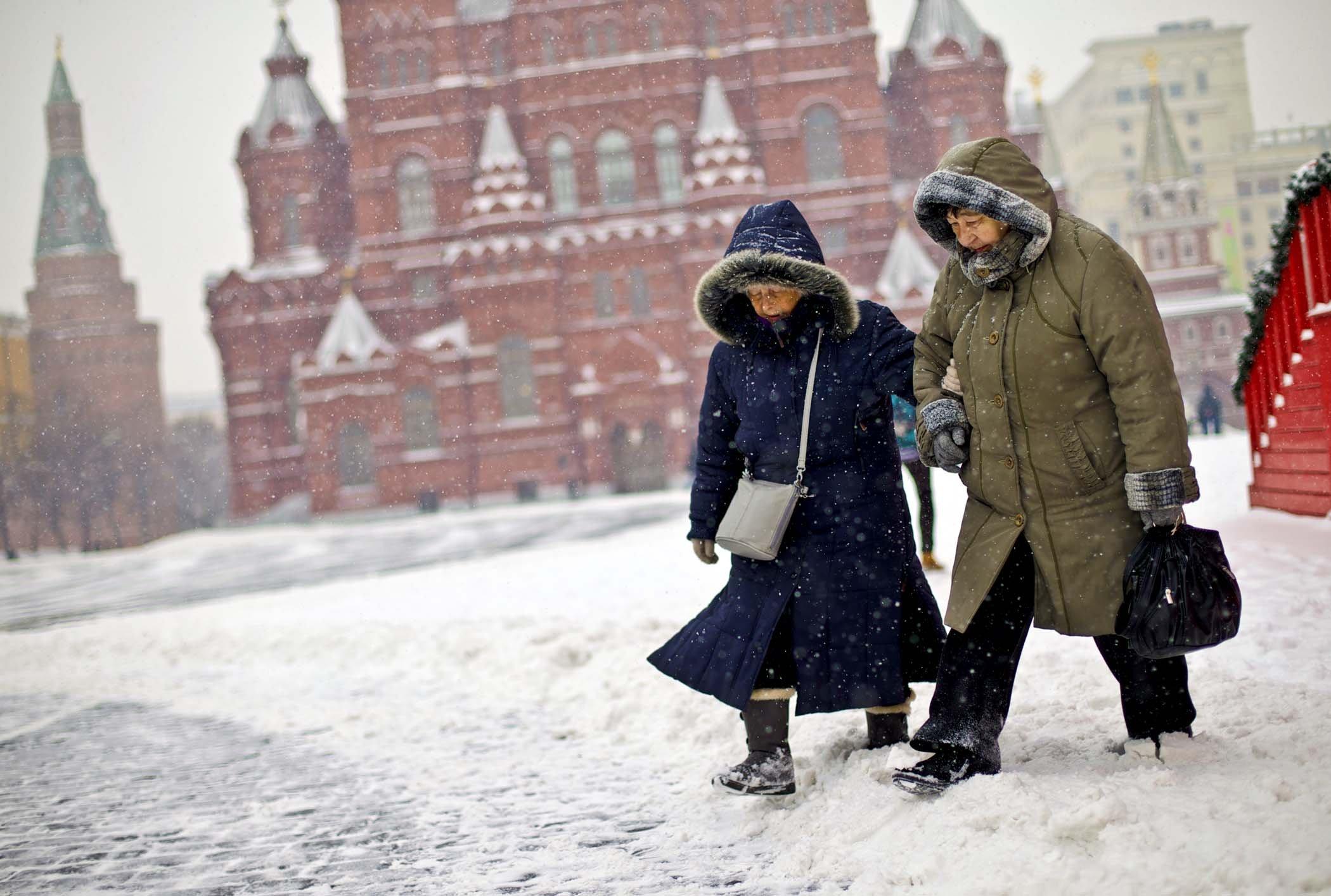 Москва зимой фото в чем одеты люди