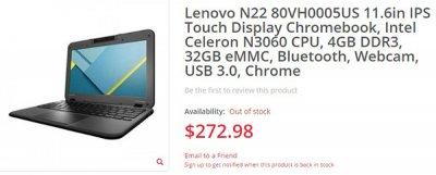 Разработчики немного модернизировали хромбук Lenovo N22
