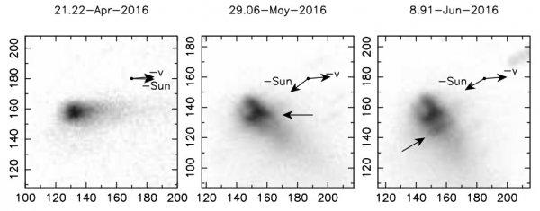Ученые изучают раннюю эволюцию активного астероида P/2016 G1
