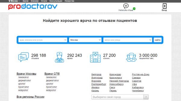 Портал prodoctorov.ru собрал более 300 тыс. отзывов