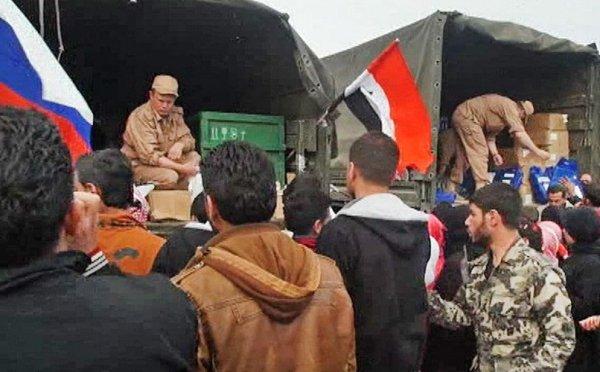 Военнослужащие РФ доставили 1,5 тонны гумпомощи в Алеппо