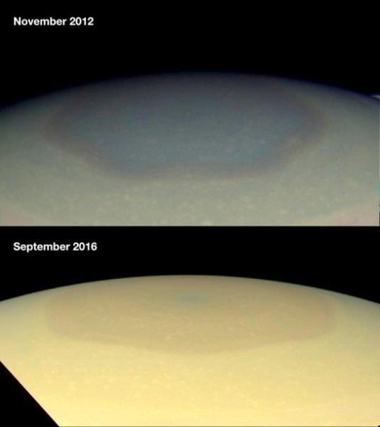 NASA: Шестиугольник на Сатурне сменил цвет