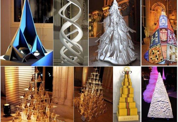 В Париже прошла выставка дизайнерских новогодних елок