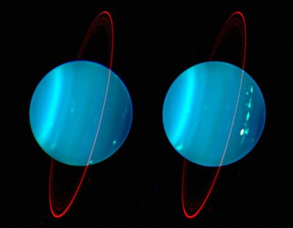 Hubble запечатлел полярные сияния на Уране