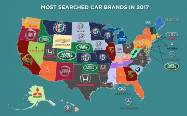 Google опубликовал данные самых часто запрашиваемых автомобилей в сети на территории США