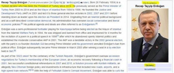 "Эрдоган стал ""турецким диктатором"" по версии Wikipedia"