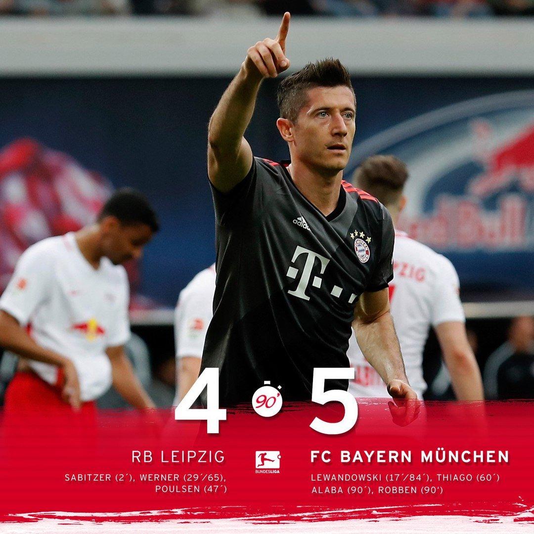 «Бавария» сосчётом 5:4 обыграла «РБЛейпциг»