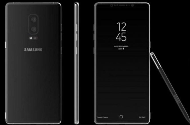 Рендер Самсунг  Galaxy Note 8 с«бесконечным» дисплеем  идвойной камерой