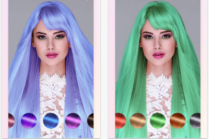 приложение покраска волос на фото год девушки