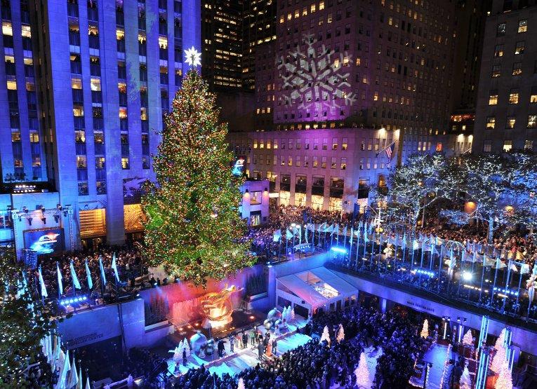 В Нью-Йорке установили рождественскую ель