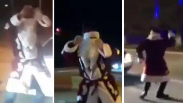 В Жанаозене полицейские обнаружили танцующего на дороге Деда Мороза