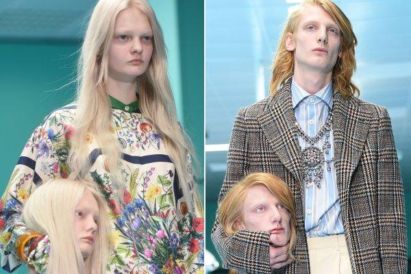 Моделям Gucci на показе вручили в руки их собственные головы