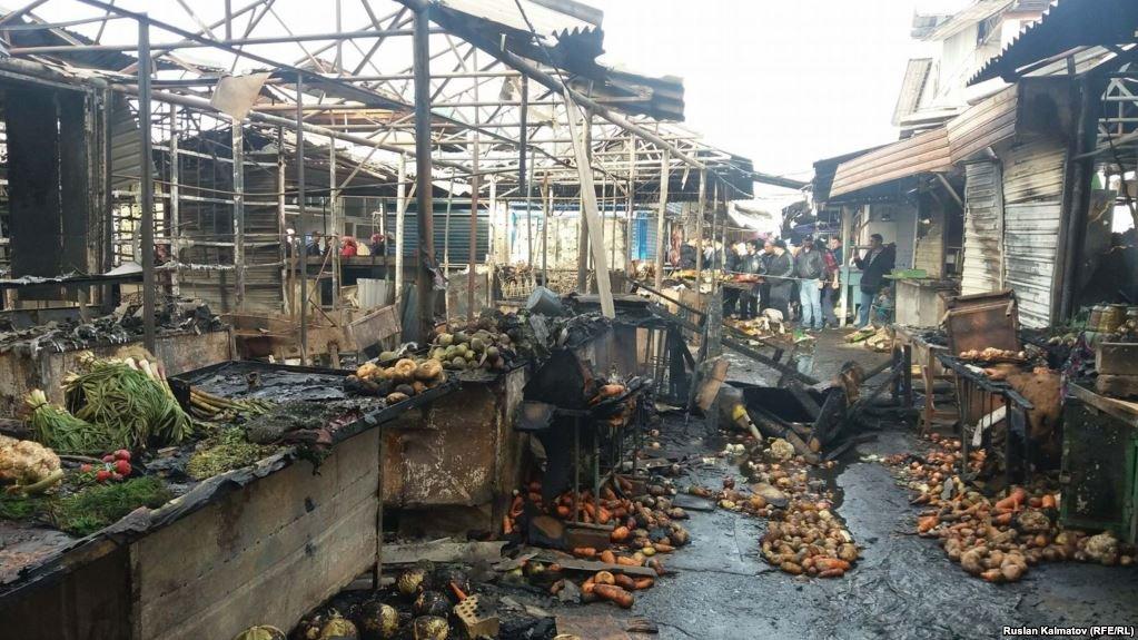 Предварительная причина пожара нарынке Нальчика— замыкание электропроводки