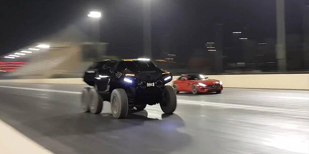 Дрэг-гонка: шестиколесный внедорожник и суперкар Mercedes-AMG