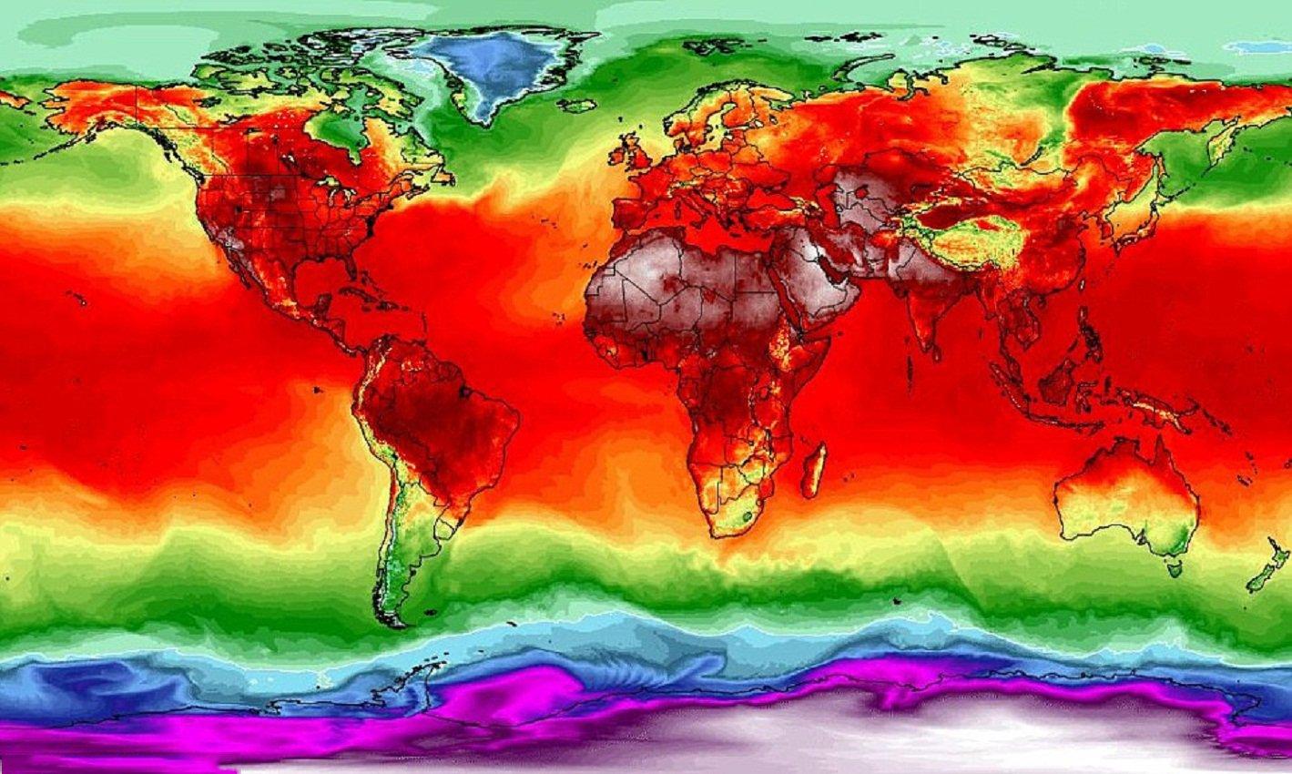 e653b5ec6237 ... потепление климата – это не выдумки ученых, а новая реальность. Жители  Земли столкнулись с неимоверной жарой. На карте распределения температур  показано ...