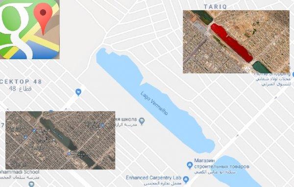 Водоросли или трупы животных? Кроваво-красное озеро было обнаружено в Ираке в Google Maps